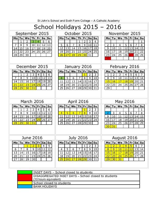 2016 Calendar with Bank Holidays UK