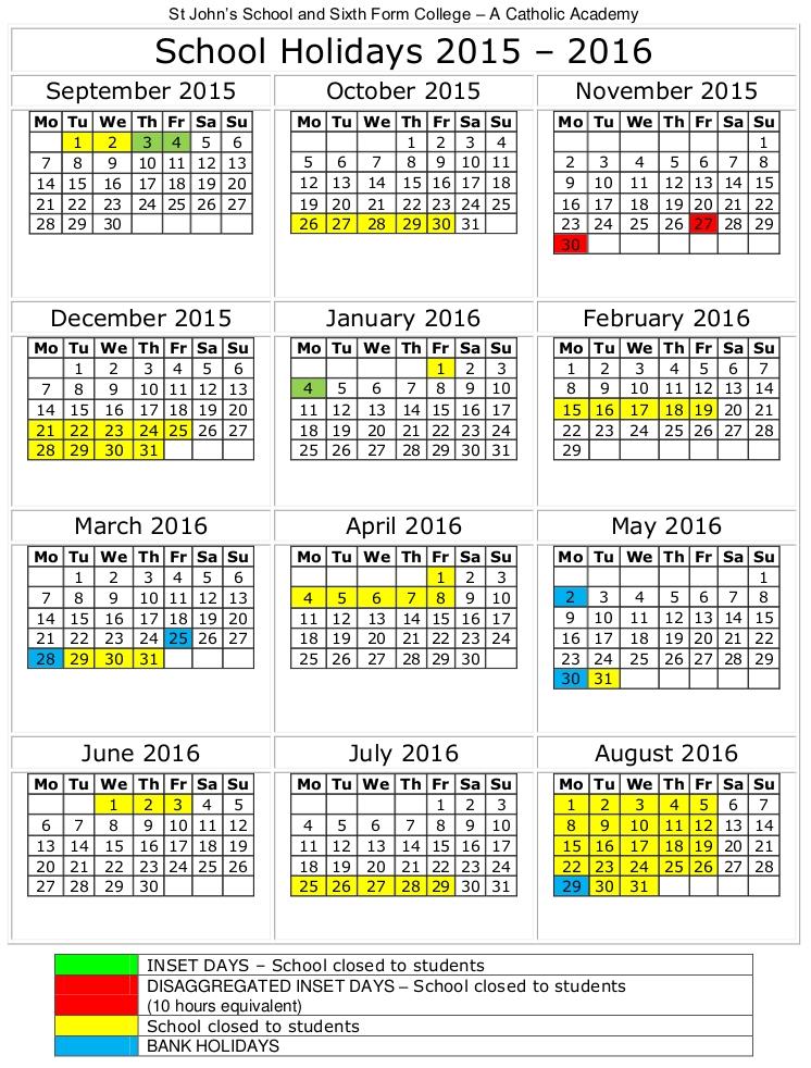 school holidays 2015 2016 st john s